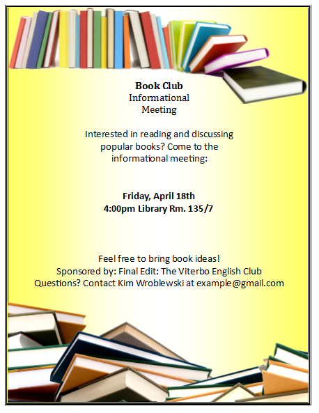 book club flyer samples