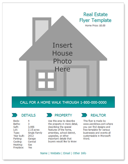 24 Stunning Real Estate Flyer Templates Demplates – House for Sale Flyer Template