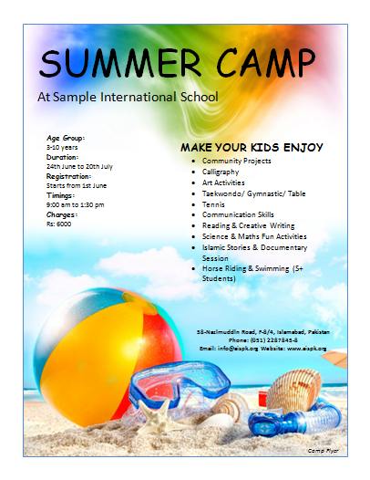 12 Free summer camp flyer templates Demplates – Summer Camp Flyer Template