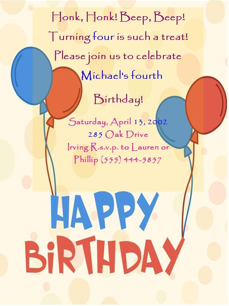 4th Birthday Invitation Templates- 6