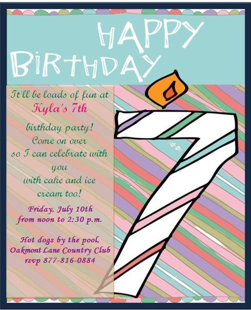 7th Birthday Invitation Templates- 2