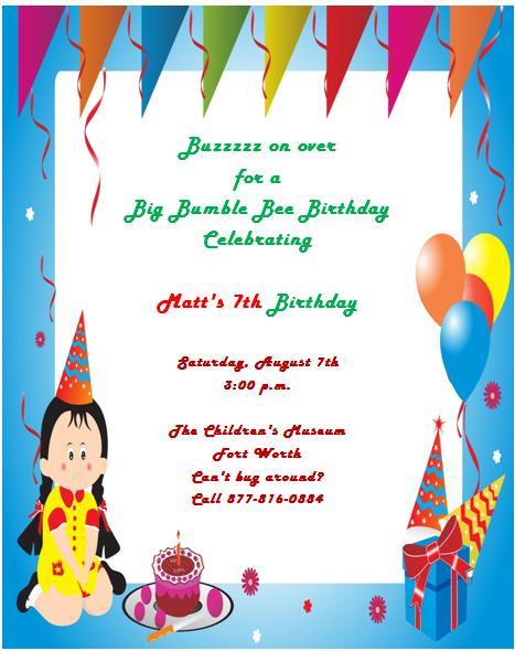 7th Birthday Invitation Templates- 7