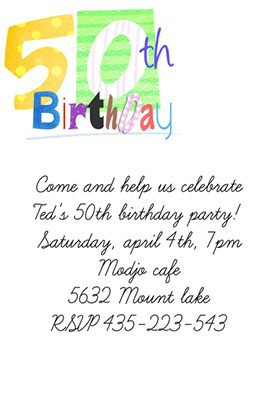 50th birthday party invitations free templates
