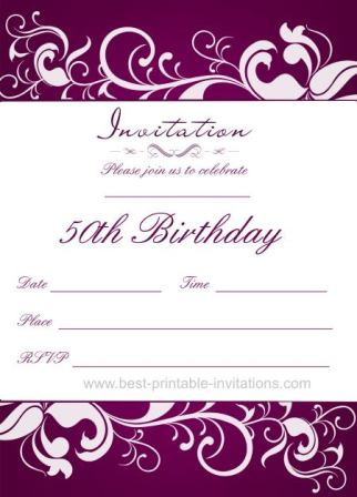 50th Birthday Invitation Templates Free Printable - Demplates