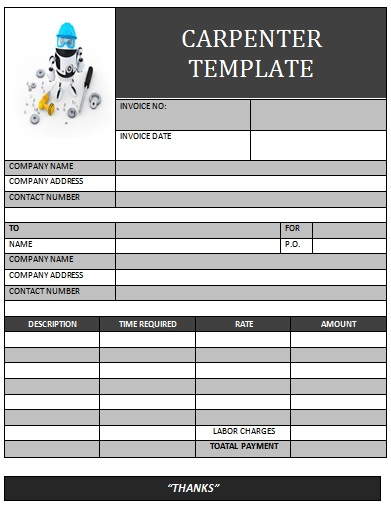 carpenter invoice template. carpenter invoice template | invoice, Invoice examples