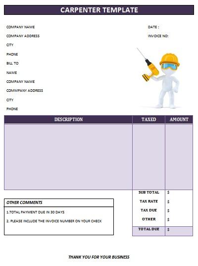 Professional Carpenter Invoice Templates Demplates - Internet invoice template