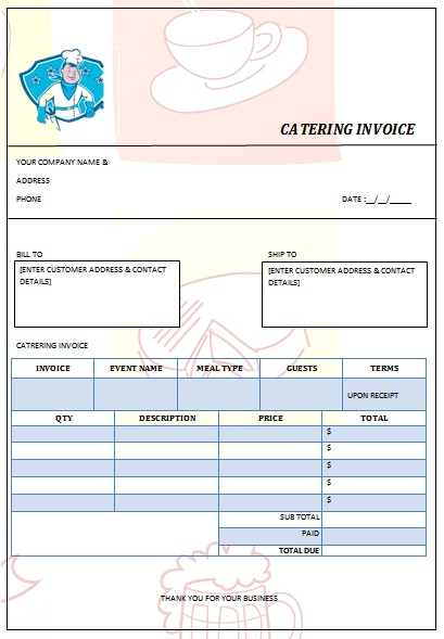 28 catering invoice templates free download - demplates, Invoice examples