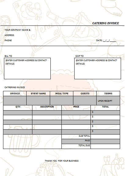 CATERING INVOICE 5
