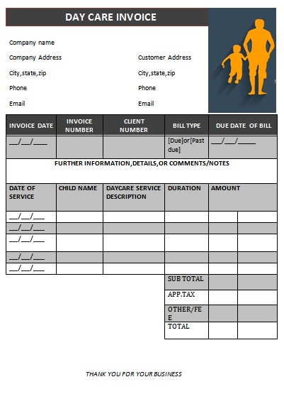 Day Care Invoice Template Collection Demplates - Child care invoice template