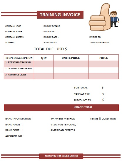 30 personal training invoice templates for professionals - demplates, Invoice templates