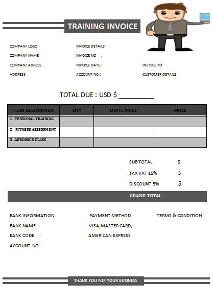 30 Personal Training Invoice Templates for Professionals - Demplates