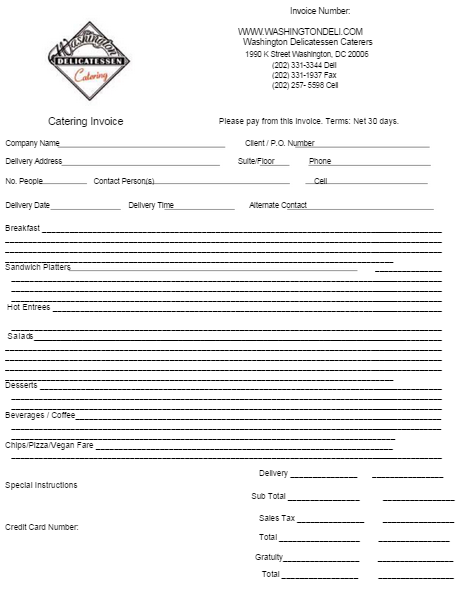 catering invoice template 4