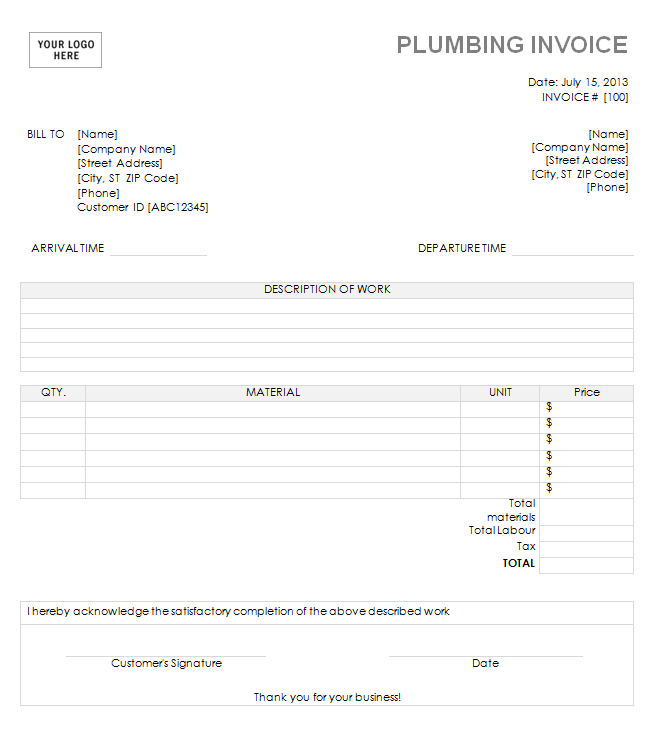 14 Free Plumbing Invoice Templates Demplates – Free Plumbing Invoice Template
