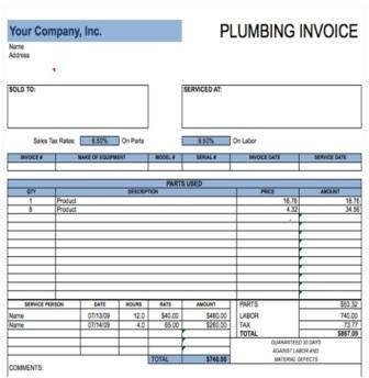 Free plumbing invoice template 1