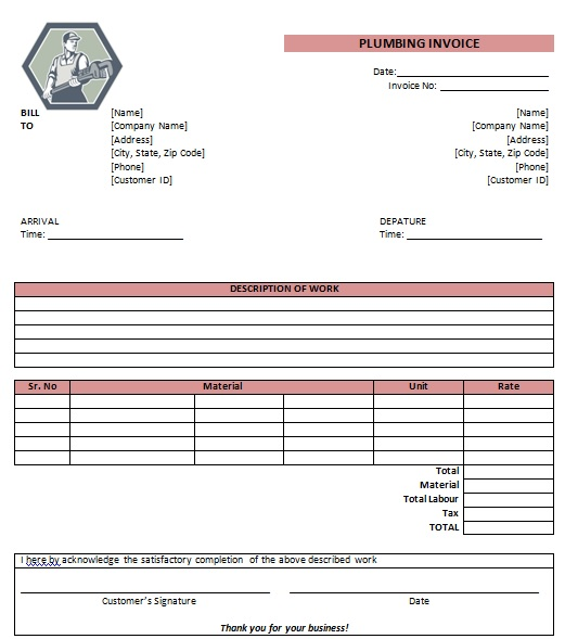 free plumbing invoice template 11