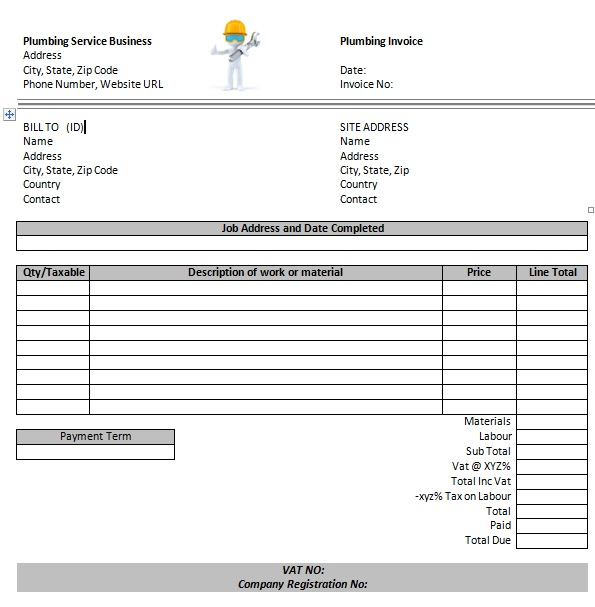 14 Free Plumbing Invoice Templates - Demplates
