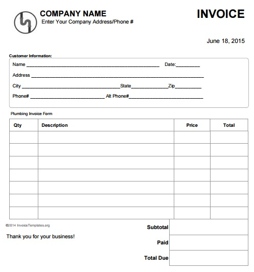 Car Repair Estimate >> 14 Free Plumbing Invoice Templates - Demplates