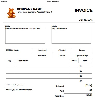 Barneybonesus  Scenic  Day Care Invoice Template Collection  Demplates With Outstanding Daycareinvoicetemplate With Archaic How To Invoice A Company For Freelance Work Also Invoice Sample Doc In Addition What Is Credit Invoice And Whats A Proforma Invoice As Well As Commercial Invoice Form Pdf Additionally Template Of Invoice In Word From Demplatescom With Barneybonesus  Outstanding  Day Care Invoice Template Collection  Demplates With Archaic Daycareinvoicetemplate And Scenic How To Invoice A Company For Freelance Work Also Invoice Sample Doc In Addition What Is Credit Invoice From Demplatescom
