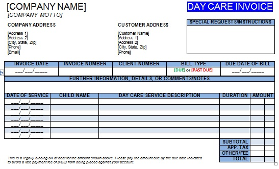 27 day care invoice template collection - demplates, Invoice templates