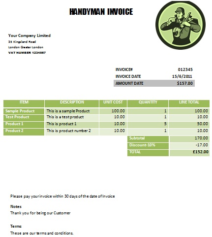 Practiced Handyman Invoice Templates Demplates - Handyman invoice template pdf