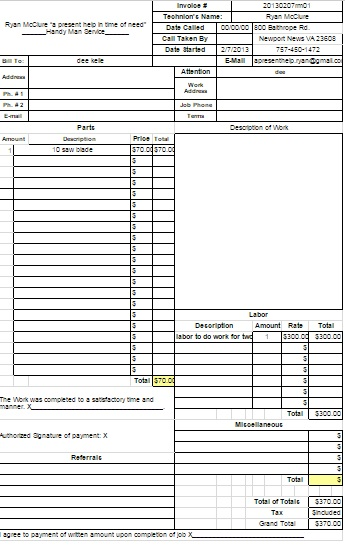 14 practiced handyman invoice templates - demplates, Invoice templates