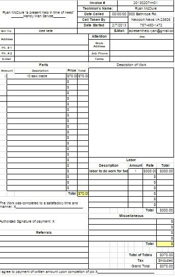 Handyman Invoice Excel