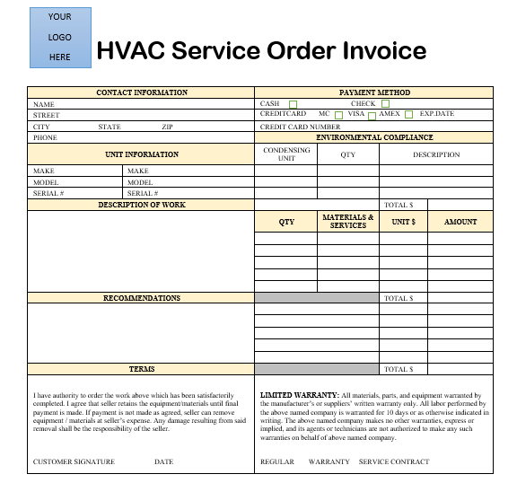 image regarding Free Printable Hvac Invoices identified as 18 Totally free HVAC Monthly bill Templates - Demplates