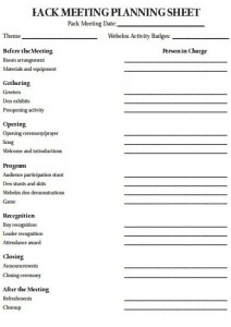 cub pack meeting agenda template