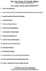 cub scout committee meeting agenda template