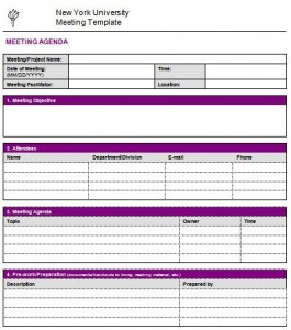 departmental meeting agenda template