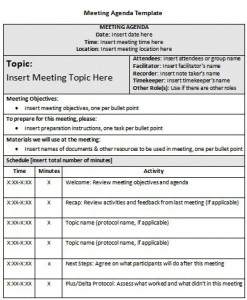 meeting agenda template for outlook