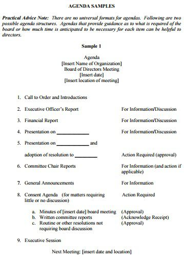 non profit board meeting minutes template - 205 professional meeting agenda templates demplates