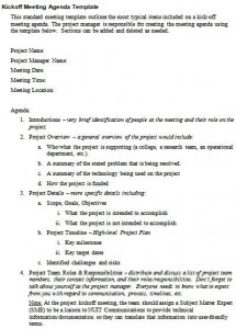 project kickoff meeting agenda template