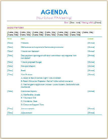 205 Professional Meeting Agenda Templates Demplates