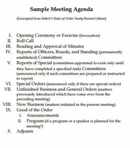 robert rules of order meeting agenda template