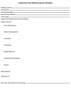 school improvement meeting agenda template