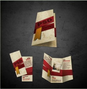 Tri-fold brochure psd template