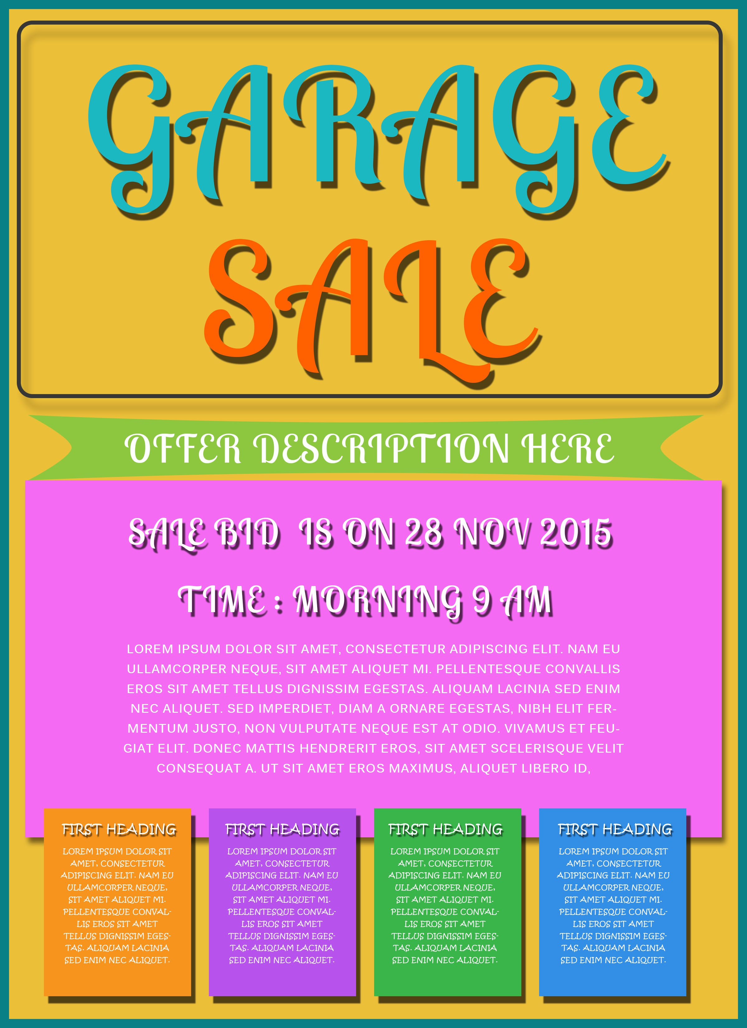 Free printable garage sale flyers templates attract more for Free downloadable poster templates