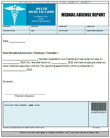 Medical Absense Report Doctors Note