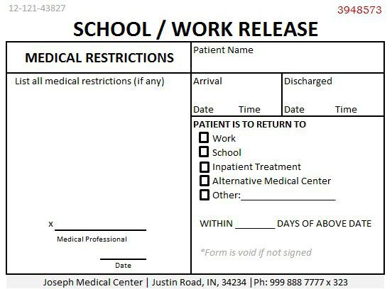 24 Professional Doctors Note For Work Demplates – Work Release Form