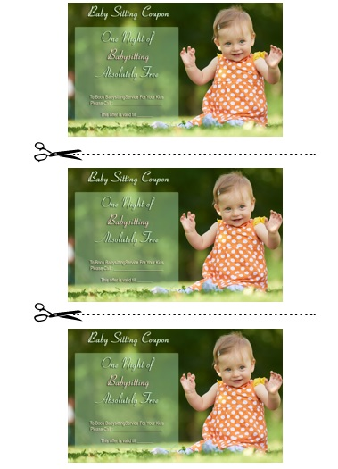 Babysitting Coupon Book Template 1