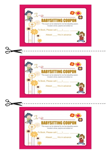 20 free printable babysitting coupon book templates demplates. Black Bedroom Furniture Sets. Home Design Ideas
