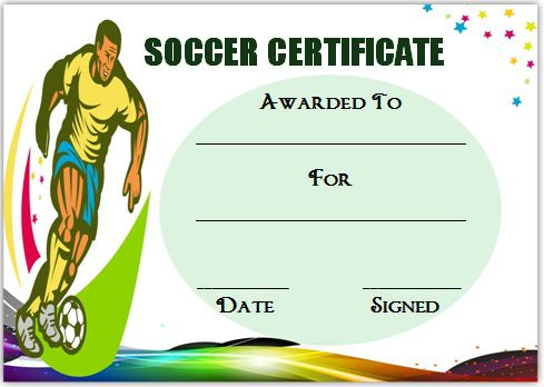 soccer certificate template word