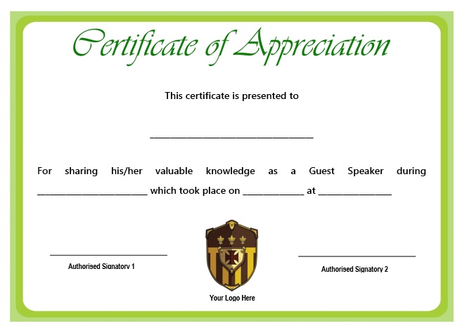 12 genuine samples of certificate of appreciation for guest certificate of appreciation for guest speaker template yelopaper Gallery