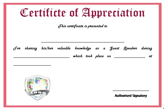 12 genuine samples of certificate of appreciation for guest certificate of appreciation for guest speaker in church yadclub Choice Image