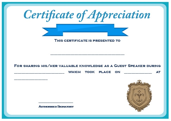 12 genuine samples of certificate of appreciation for guest certificate of appreciation for guest speaker for graduation yadclub Choice Image