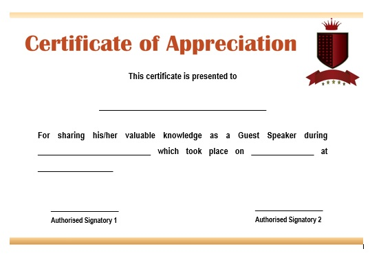 12 genuine samples of certificate of appreciation for guest certificate of appreciation for guest lecturer yadclub Choice Image