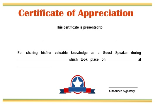 12 genuine samples of certificate of appreciation for guest certificate of appreciation for guest speaker in seminar sample yadclub Choice Image