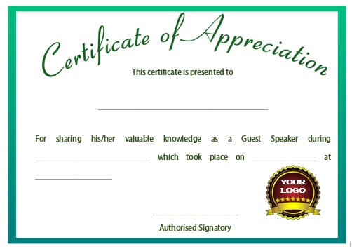 12 genuine samples of certificate of appreciation for guest speaker demplates. Black Bedroom Furniture Sets. Home Design Ideas