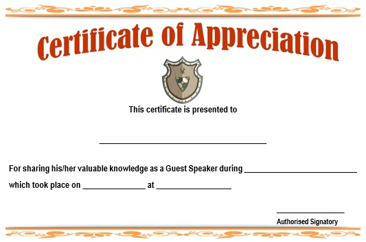 12 genuine samples of certificate of appreciation for guest certificate of recognition for guest speakers sample yadclub Image collections